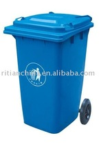 240L outdoor standing plastic trash bin with wheels and handle