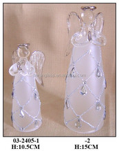 Hand Blown Beautiful White Chirstmas Hanging Glass Angel with Clear Diamonds