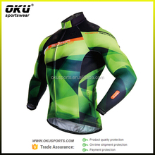 Men's Sublimation Print Cycling Long Sleeve Jersey Sets 3D Silicon Gel Pad Full zipper Biking Jersey