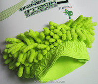 microfiber car wash cloth green color car sponge glove for car company
