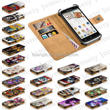 "For Lenovo S820 Original 4.7"" Universal Mobilephone Bag Printing PU Leather Stand Wallet Flip Case Cover + Credit Card Slots"