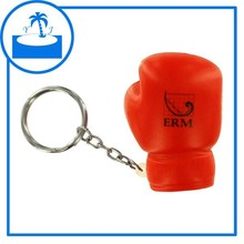 promotional gift accpect print logo custom PU foam Boxing Glove Stress Reliever Key Ring