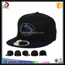 top quality black funny embroidery logo custom flat bill cowboy 6 panel snapback hats