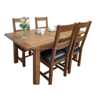 modern oak heavy-duty dining table and chairs