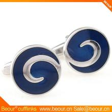 Vintage blue painting circle cufflinks ZB7568 - Wholesale Cufflink,custom wedding cufflinks with epoxy