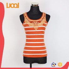 female striped top woman's blouse ladies tight blouses round neck with lace