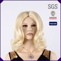 Alibaba wholesale made in China female middle blonde curly cosplay synthetic wigs