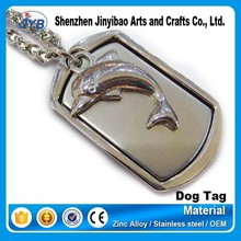 cute dolphin embossed custom dog tags made in china for kids