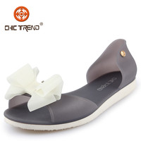 Hot sale wholesale women plastic flat sandal shoes Crystal sandal shoes jelly PVC shoes with nice bow