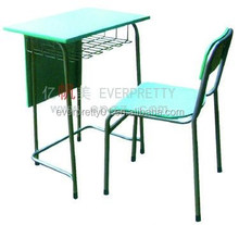 Portable Student Fixed Single Desk and Chair ,Desk with Modesty Panel and Basket Guangzhou Everpretty Hot Sale school Furniture