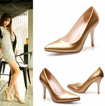 W91699A 2015 new style ladies high heel shoes women gold high heel pointed toe pumps shoes