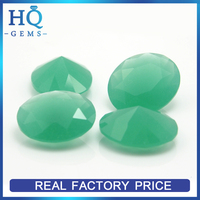 Milky Green Oval Synthetic Glass Jade