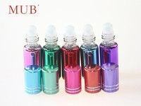 Colorful empty UV gel 6ml glass roll on deodorant bottles for perfume essential oil with aluminum cap