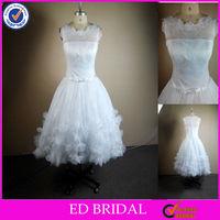 NC139 Beautiful Petal Appliqued Boat Neck Lace Real Sample Tea Length Wedding Dress Patterns