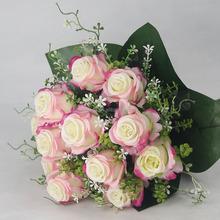 Venta al por mayor 12 ramas de ramos de flores con rosas artificiales