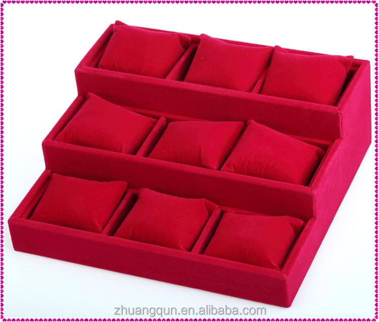 장미 벨벳 9 슬롯 고품질의 세련된 팔찌 뱅글 팔찌 시계 포장 상자