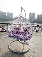 White Comfortable double seat rattan swing hanging chair JC3117