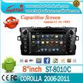 Pura 4.0 android del coche toyota corolla gps radio dvd con/bluetooth/radio/tv/gps/3g/wifi/android! De buena calidad!