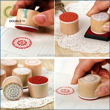 Custom 6pcs Assorted Retro Vintage Floral Pattern Round Wooden Rubber Stamp Scrapbook woodenCraft stamp