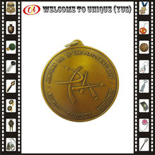 Brass stamped antique gold medal for collection