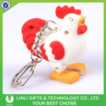 Logo Print Plastic Rubber Rooster Keychains