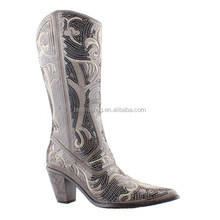 2016 Latest Design Ladies High Heel Cheap Black Sequin Woman Boot with Embroidery