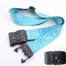 2014 free sample custom luggage strap/polyester luggage belt with lock/travel luggage bag belt