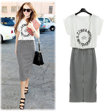 Europe station 2015 summer women new alphabet pattern stitching stripe dress 5218