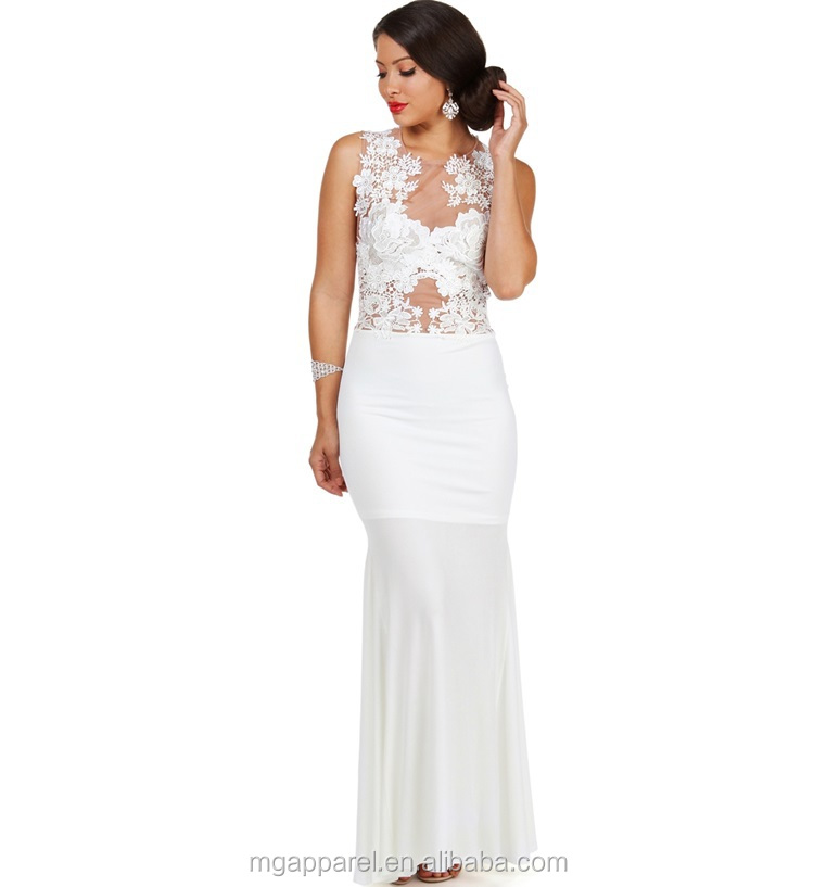 Latest Fashion Long Tight Prom Dresses White Floral Lace Evening