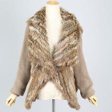QC3031 in stock rabbit fur waterfall jacket real fur gardigan coats