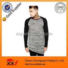 Online shopping color contrast asymmetric hem long sleeve super longline t shirt for men