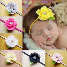 Children fair accessories wholesale Q98 European and American new style chiffon flower with diamond hairband baby girl headwear