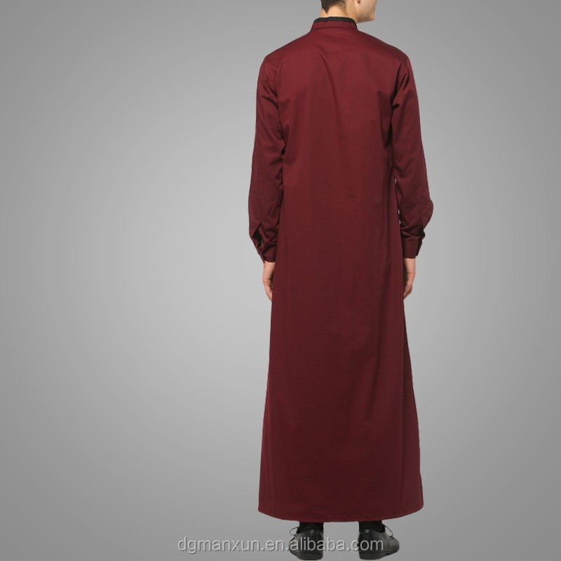 2016 Design Mens Islamic Thobe Saudi Style Robe Arab Sayyid Thobe Maroon (5).jpg