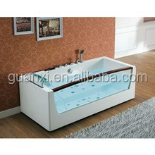 Guangdong made high quality grade white side mounted faucet rectangular acrylic bathtub