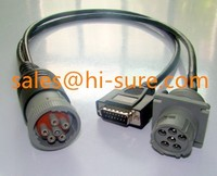 Deutsch J1708 to J1708+DB15P Split Y Cable for heavy duty truck diagnostic scan tool