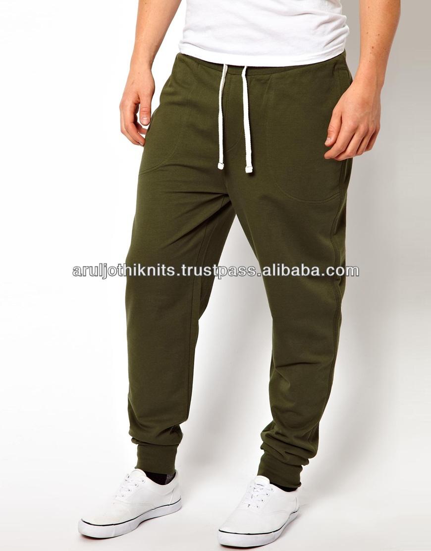 Mens Black Cotton Low Crotch Pants Drop Harem Trousers Elasticated Waist Joggers.