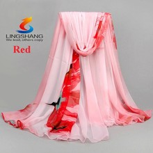 New Pretty Women's Chiffon Floral Print Silk Long Neck Scarf Shawl Stole Wraps