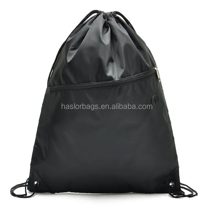 Promotional custom gym sack drawstring bag with headphone slot