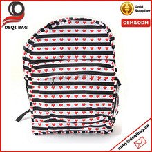 Black and White Striped Heart Backpack School Bag