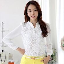 Para mujer de moda mujeres Collar del soporte largo manga ocasional de la gasa delgada modelos elegante blusa SV019826