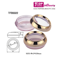 High quality empty round compact powder blusher case with transparent lid OEM ODM welcomed