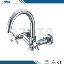 Double Handles Wall Mounted Brass Chrome Finish Kitchen Taps Mixer