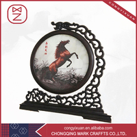 Chinese Folk Design High Quality Shu Embroidery Wooden Arts Crafts