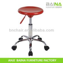 Baixo preço OEM PU chrome bar stool com rodízios