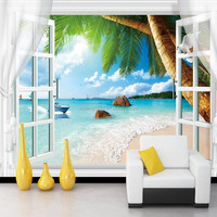 window photo mural 3d leather wallpaper