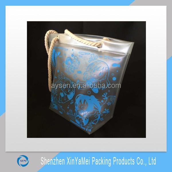 hot sale famous shiny pvc handled shopping tote bag