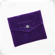 Custom Envelope double Microfiber pouch bag with flap packing jewelry