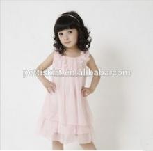 venta al por mayor los niños vestidos de niña vestido de chifón satinado vestido de la muchacha