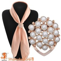 Accessories brooch Dual pearl silk scarf buckle rhinestone silk scarf clip female wedding shawl jewelry
