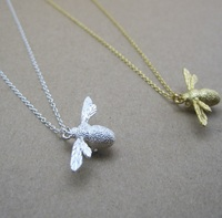 Brushed 925 sterling silver made bee necklace animal series